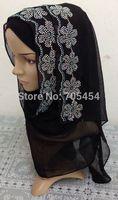 ML109 chiffon rhinestones black muslim hijab long scarf shawls free shipping,fast delivery,assorted colors