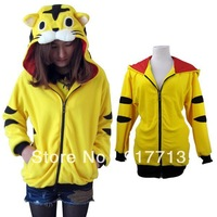 2013 Fashion New Yellow Tiger Japan Kigurumi Costume Ears Face Tail Zip Tiger Hoodie Hoody Sweatshirt Costume,Free Shipping!
