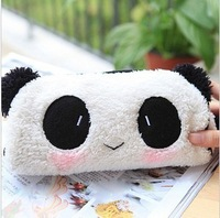 Free shipping pencil cases Lovely creative capacity fresh Plush panda pen bag school bag  pencil box cosmetic bag