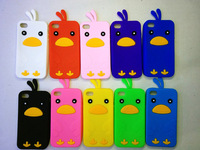 10 Colors 3D Chick Bird Soft Silicone Back Case Cover for Apple iPhone 4 4G 4S+ Free  Button Sticker
