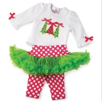2013new  Christmas clothes  XMAS tree Long sleeve Tshirt with   pantskirt 2pcs set baby  2piece  outfits