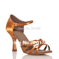 Wholesale 2013 Women Tan Satin Beautiful Knots Latin Dance Shoes Ballroom Shoes Salsa Dance Shoes