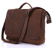 Vintage Style 100% Genuine Cow Leather Men's Dark Brown Briefcases Messenger Hand shoulder bag