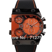 Free shipping New arrival 2013 new cool design Oulm brand 2 GMT leather band military men wrist watch relogio