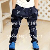 Free shipping Novel 2014 Autumn skeleton male child faux denim casual sports harem pants