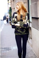 2013 NEW Retro street style army green O-neck ladeis sweater dress outwear Pullover Tops Free size