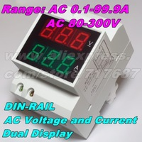 DIN-RAIL Slide Way Digital LED AC Voltmeter Ammeter AC140-300V AC220V AC0.2-99.9A Voltage Current Meter Dual Display Panel Meter
