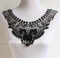 1 X Charming Black Flower Neckline Collar Venise Lace Applique DIY Craft