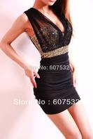 Free Shipping Plus Size S M L XL XXL Sexy Women Sequined V Neck Sleeveless Empire Paillette Slim Hip Sheath Evening Mini Dress