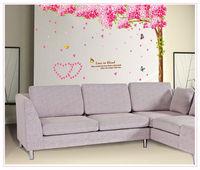 romantic sakura flower wall art furniture home decoration large vinyl wall decals kids room love glass mirror wall stickers