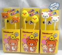 Free shipping Rilakkuma earphones Teddy Bear Cartoon earbuds for iphone 4s with retail box