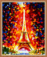 DIY digital oil painting the living room adornment scenery couples hand-painted 40 * 50  Eiffel Tower