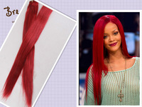 Top Grade 5A Red Malaysian Hair Weave ,Rihanna Straight Style Colored Red Remy Hair Extension Bundles