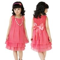 girl summer chiffon dress princess dress with free necklace back bow rose elegant chiffon kid girl dress