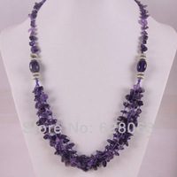 """Amethyst Chip Beads Weave Necklace 22"""" Jewelry Free Shipping F311"""