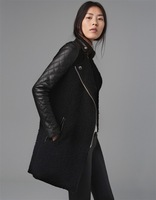Fashion Personality 2013 Women'S Berber Fleece Leather Overcoat Patchwork Outerwear