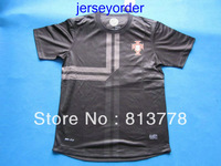 Best 2013 -2014 Thailand Quality soccer jersey Portugal blank black jersey 13/14 Season National team football hot sell