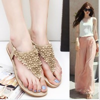 2014 Fashion women flats heel flip beaded thong MK sandals shoes  rhinestone open toe rubber sole summer flowers  slippers shoes