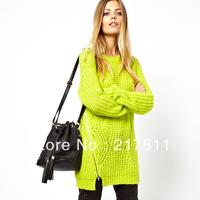Free Shipping 2013 New Women Auturm Pullover Sweaters Lemon Green Side Zipper Long Coarse Wool sweater Loose Casual Top 07210002