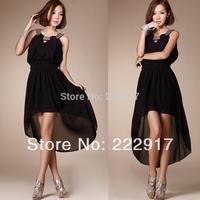 New 2014 Leuconostoc Sexy Solid color Slim Waist Irregular Dresses Dovetail Party dresses Women Summer dress Casual dress