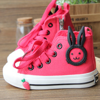 2013 autumn child high canvas shoes rabbit ears male female child princess single shoes sport shoes