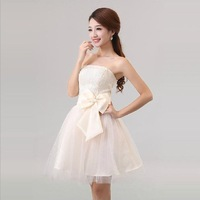 2013 free shipping  princess women's bow short beach wedding dress princess