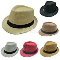 Unisex Women Men Casual Trendy Beach Sun Straw Panama Jazz Hat Cowboy Fedora Gangster Cap 80118