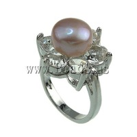 Free shipping!!!Freshwater Pearl Finger Ring,2013 new fashion girl, with Rhinestone & Brass, 9-10mm, Hole:Approx 16-18mm