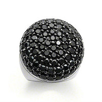 New! Wholesale Free shipping 925 silver ring / 925 silver Unique black crystal ring US size adjustable TSR3