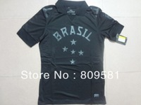 New 2013/14 Top Thailand quality Brasil black  Authentic Brazil  Third Jersey 2013 Brazil Jersey Free shipping Size: S-XL