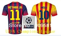 player version  messi  jersey  neymar xavi  embroidery logo  UEFA Champions League Soccer Jersey  UCL + respect Free shipping