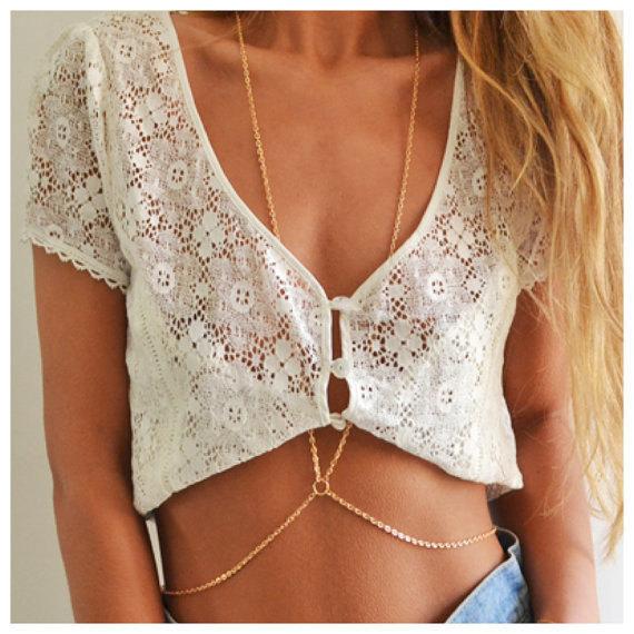 Fashion women sexy gold body chain choker necklace full belly belt chain jewelry . free shipping ! wholesale!(China (Mainland))