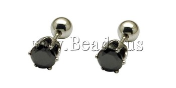 Free shipping!!!Stainless Steel Ear Piercing Jewelry,2013 new fashion girl, Flower, with cubic zirconia, oril color, 6mm