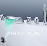 New LED 5Pcs bathroom bath sink mixer tap with shower chrome faucet set  Z141