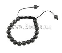 Free shipping!!!Hematite Shamballa Bracelets,2013 new men, Non-magnetic Hematite, with Wax Cord, 10mm, Length:7.5 Inch