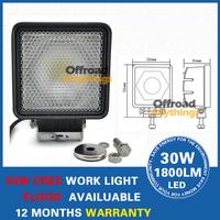 2 PCS Free shipping+ 30W work light Waterproof IP68 DC 10-30V 6000K 2700lm 170 degree beam Car headlight CDD07-170D