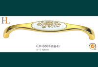 FREE SHIPPING 12pcs 128mm ceramic furniture handle pull gold handle handles for kitchen cabinets
