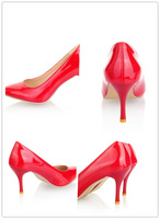 2015 new fashion Size34-43 thin heel women pumps red retro sexy pointed shoes office ladies