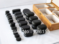 Spa enjoy therapy Hot massage stone set in bamboo box packing.45/set.well packing for shipping