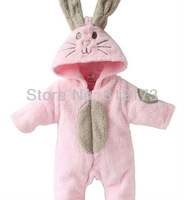FREE SHIPPING----pink warm one-piece for children winter wear baby girl thicken rompers infant  Jumpsuits rabbit model 1pcs