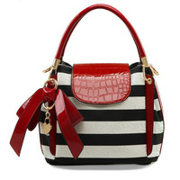 Hot fashion striped handbag woman 2013 designer brand pu leather bags totes hit color and bow shoulder bags bolsas