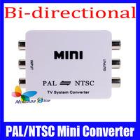 1Pcs/lot PAL/NTSC/SECAM To PAL/NTSC Mini Converter Video TV Format Bi-directional System White Color Adapter Free shipping!!
