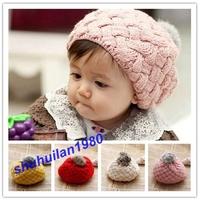 Free Shipping New 4ColorsChildren  Kid Winter Warm Wool Knit Crochet Beanie Hat 1-5 Years