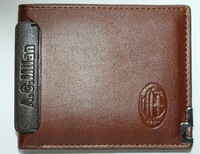 Free shipping AC milan brown purse / fans football flat wallet
