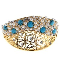 Neoglory beautiful jewelry accessories - gold rose turquoise bracelet made with SWA ELEMENTS crystal xgc6379