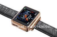 widescreen all-steel phone watch with leather strap