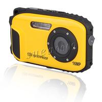 Yellow LCD Auto 16MP Underwater Shockproof Digital Camera 10m Waterproof Camera 8X Zoom