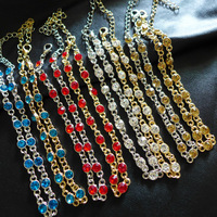 JC100 Colorful Anklets Popular Style Shining Gem Anklets Bracelet Wholesale lot Mix 8 Color Korean Jewelry Free Shipping