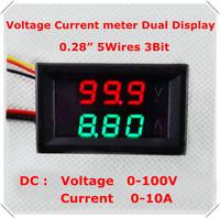 DC 0-100V/10A LED Display color Red+Green 0.28 Digital Ammeter Voltmeter 5 wire 3 bit  Car voltage current meter [4 pcs/lot]