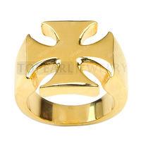 Free Shipping! 3pcs Gold-tone Stainless Steel Maltese Iron Cross Ring MER191